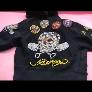 Vintage Ed hardy crystal skull hoodie kids size 2